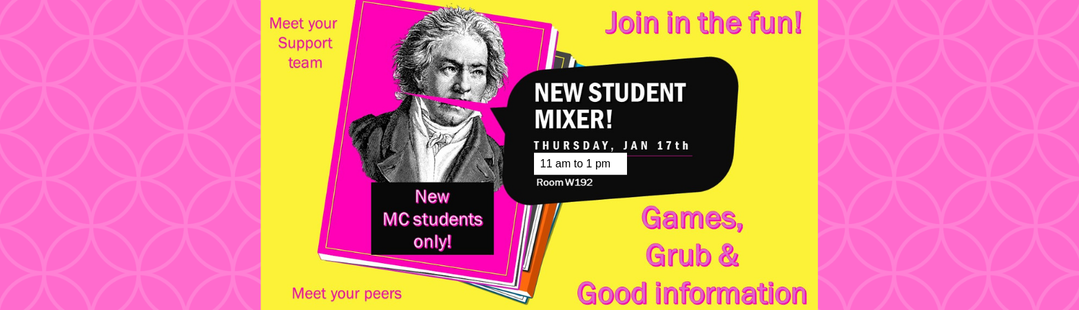New Student Mixer January 17 11 am to 1 pm, W192, Games, grub and good information